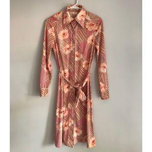 Vintage 70s Striped Button Front Dress w Tie Belt
